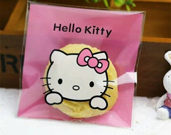 """25 Hello Kitty Plastic Candy Bag. Party favor bags or Gift Bags. Self Adhesive Bags. 4x4"""""""