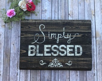 Distressed Simply Blessed Sign - Simply Blessed Rustic Pallet Sign