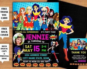 Super Hero DC Girls Photo Invitation SuperHero Girls Birthday Printable Invitation+Back Cover Super Girls Printed Invite+FREE Thank You Card