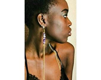 Long Amethyst Chain Earrings, Tassel Earrings, Fun Earrings, Girly Earrings, Look Of The Day, Fashion Earrings , Gemstone Earrings, Pretty