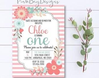 Sweet As Sugar And So Much Fun Birthday Invitation, Girl Birthday Invitation, Shabby Chic Invitation, Pink Birthday, Floral Birthday Invite