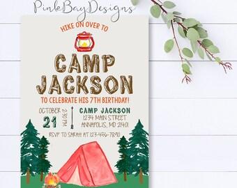 Camping Birthday Invitation, Camping Party Invitation, Camping Invitation, Campfire Invitation, Camp Party, Birthday Invite, Camping Invite