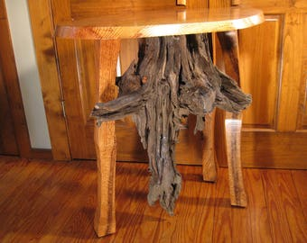 Rustic Display Table made from Quartersawn Oak and Driftwood Pine Heart Tap Root