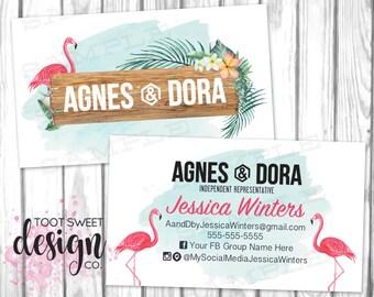 Agnes and Dora Business Cards, Custom Agnes & Dora Business Card, Flamingo Tropical Watercolor, Personalized Marketing / Branding, PRINTABLE