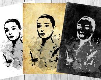 Audrey Hepburn Poster  Watercolor  Poster Art  Print Wall Decor Instant Digital Download