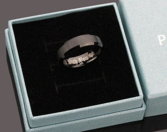 Inside Engraving Personalized Tungsten Carbide Wedding Band Promise Ring 6mm Beveled Edges - ZDPTR168
