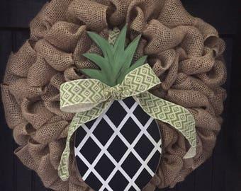Pineapple Wreath, Summer Wreath, Year Round Wreath, Pineapple, Southern Hospitality Wreath