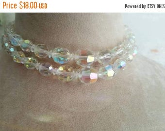 SUMMER SALE 1950's Iresdecent Glass Crystal Beads Choker and Earring Set