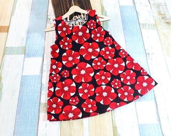 Handmade One Piece Dress Corduroy Red Flowers