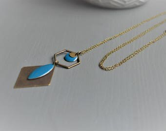 teal and bronze necklace graphic and chic