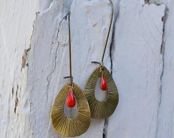 Earrings long earrings drop glazed red and bronze