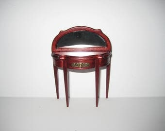 Dollhouse Miniature Half Round Hall or Vanity Table with Mirror 1:12 Scale Furniture