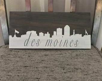Des Moines SkylineWood Sign