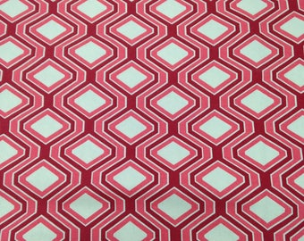 3 Yards Red Hexagon Home Dec Fabric