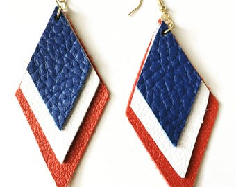 Red, White, and Blue Leather Earrings- 4th of July Earrings, independance Day Earrings