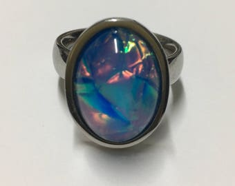 Sterling silver 925 simulated oval opal ring