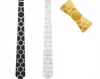 Combo Gift Black-Silver dual side Hex Style Tie with golden bow- Honeycomb  ( Suit Accessories - NeckTie, Hex Neck tie Style)