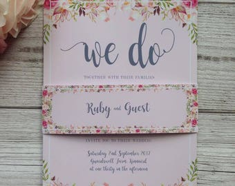 Floral themed wedding invitations wedding stationery floral water colour rusting vintage flowers