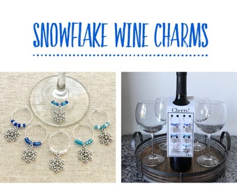 Snowflake Wine Charms, Winter Wine Charms, Holiday Wine Charms