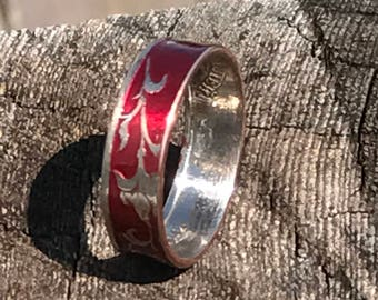 Powder coated coin ring from a Russian coin
