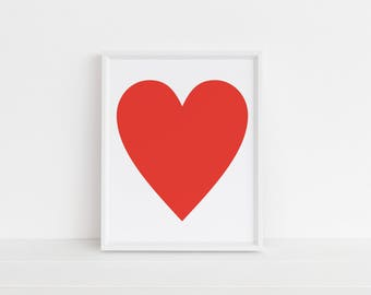 Red Heart Print | Love Art | Heart Print | Printable Art | Nursery Art | Gallery Wall Art | Wall Art | Instant Download