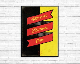 Watford Football Club Print Picture Art Poster Retro Style Print Hornets