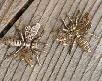 Victorian Style Antique Gold or Bronze Toned Wasp Stampings Finished Antiqued Brass Made in USA 1 Piece