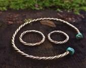 Turqouise Viking Brass Bracelet Celtic