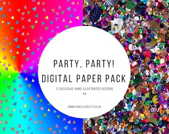 Sequin Party Papers Digital Download. Scrapbooking, Papercrafts, craft supplies.