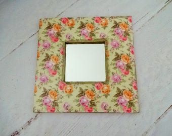 Shabby Chic Mirror, Decorative Mirror, Decoupage Mirror, Cottage Style Mirror, Wall Mirror, Square Mirror, Floral Mirror Frame