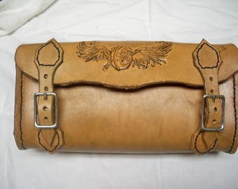 Leather tool bag for a motorcycle