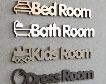 wooden door sign/custom modern door sign/Scandinavian door sign/welcome bedroom bathroom  sc 1 st  Etsy & Bathroom door sign | Etsy