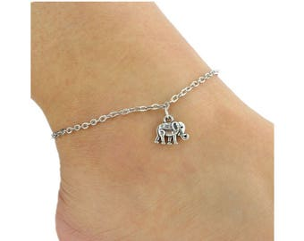 elephant anklet, silver plated anklet, women anklet, beach anklet, ankle bracelet, animal anklet, foot bracelet, anklet bracelet