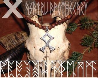 Pine wood skull beads with odal rune // skull beads // rune pendant // wood skull beads // vikings // berserker // runes // odal rune