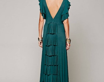 Green tiered back maxi dress by Free People , Film Noir