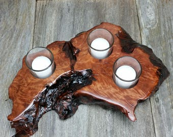 Redwood Candle Holder Rustic Glass 3 Votive Handmade Wood 5th Anniversary #L