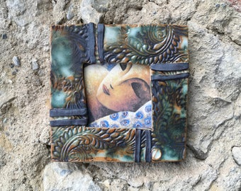 Blue and Green Stoneware Decorative Frame