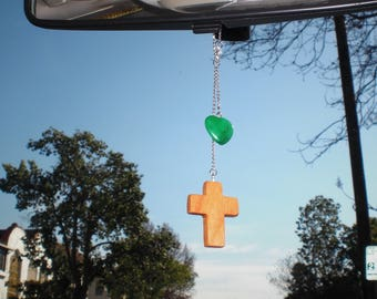 Rear view mirror, Cross and stone heart-C1