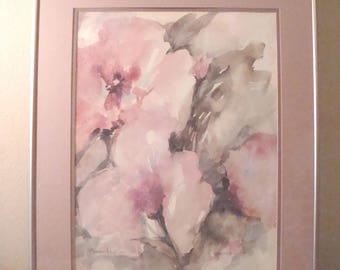 Original Watercolor Painting Abstract Floral Framed Matted Dusky Dusty Pink Rose Lavender Gray Green Signed Known Chiara Moerschel