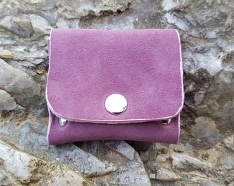 Purple suede leather wallet