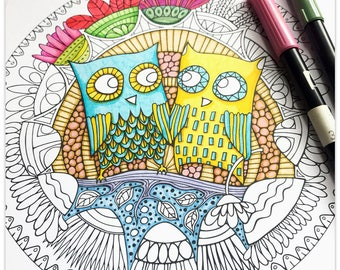 Printable Hoot Hollow Colouring Page