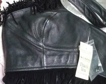 Vintage Black leather biker Halter fringed new with tags