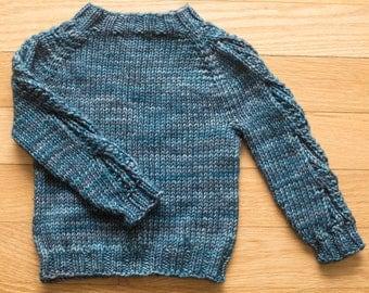 Handknit Baby Sweater - blue, size 3 months