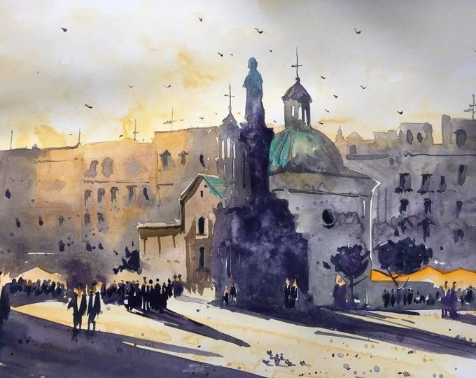 Krakow II in watercolor