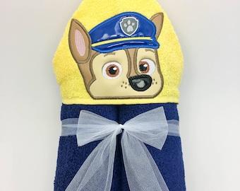 Paw Patrol Chase Hooded Towel - Bath Towel, Beach Towel, Pool
