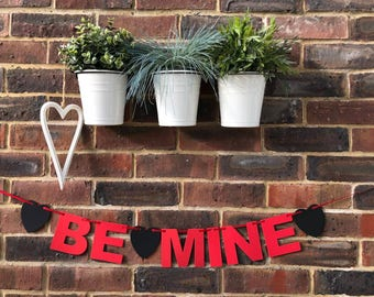 BE MINE banner. Valentine's day decoration Valentine's day be mine hearts in red or black letters valentine garland one I love
