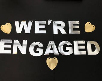 Were Engaged Banner silver Mirror Shiny Engagement Party Decoration. With gold stars hen do hen party bunting garland bride to be. Soon