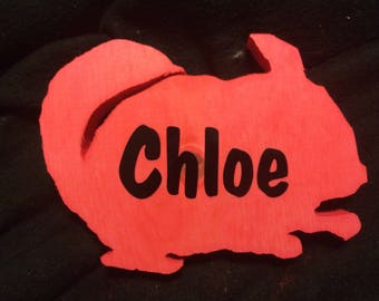 Wooden Chinchilla Cage Name Tag/Plate