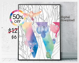 Digital dawnloads W initial home decor printables - colorful modern bird art - rainbow letters W for contemporary home decor - birdy letters