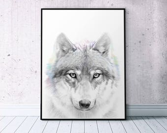 Grey Wolf Head Forest Wall Art, Printable Wilderness Art Print, Pencil Drawing Timber Wolf Printable, Gray Living Room Art, Affiche Poster